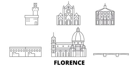 Italia, Firenze linea skyline di viaggio insieme. L'Italia, Firenze outline vettore città panorama, illustrazione, siti di viaggi, punti di riferimento, strade.