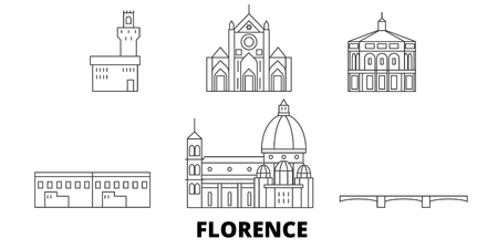 Italy, Florence line travel skyline set. Italy, Florence outline city vector panorama, illustration, travel sights, landmarks, streets.