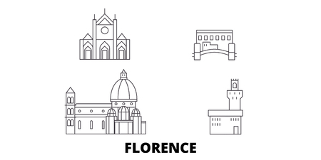 Italy, Florence City line travel skyline set. Italy, Florence City outline city vector panorama, illustration, travel sights, landmarks, streets. Reklamní fotografie - 123962760