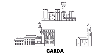 Italy, Garda line travel skyline set. Italy, Garda outline city vector panorama, illustration, travel sights, landmarks, streets.
