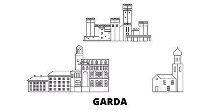 Italy, Garda line travel skyline set. Italy, Garda outline city vector panorama, illustration, travel sights, landmarks, streets. Reklamní fotografie - 123962761