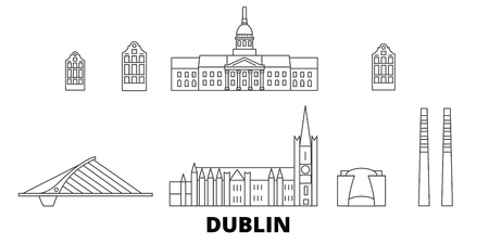 Irland, Dublin line travel skyline set. Irland, Dublin outline city vector panorama, illustration, travel sights, landmarks, streets. Imagens - 123962762