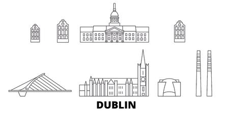 Irland, Dublin line travel skyline set. Irland, Dublin outline city vector panorama, illustration, travel sights, landmarks, streets.