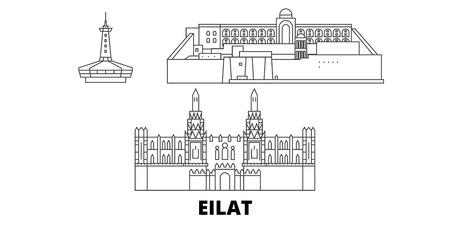 Israel, Eilat line travel skyline set. Israel, Eilat outline city vector panorama, illustration, travel sights, landmarks, streets.