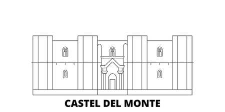 Italy, Apulia, Castel Del Monte line travel skyline set. Italy, Apulia, Castel Del Monte outline city vector panorama, illustration, travel sights, landmarks, streets. Illustration