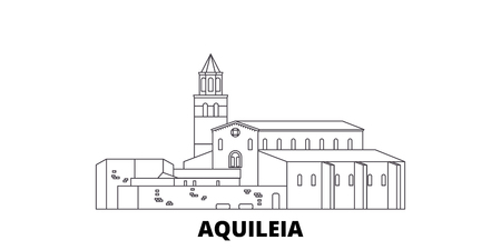 Italy, Aquileia  line travel skyline set. Italy, Aquileia  outline city vector panorama, illustration, travel sights, landmarks, streets. Illustration