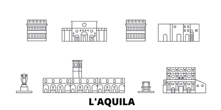 Italy, Laquila line travel skyline set. Italy, Laquila outline city vector panorama, illustration, travel sights, landmarks, streets.