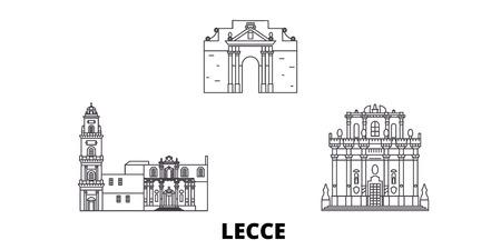 L'Italie, Lecce line travel skyline set. L'Italie, Lecce contours panorama vectoriel de la ville, illustration, sites touristiques, monuments, rues. Vecteurs