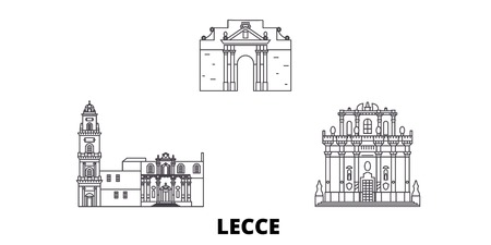 Italy, Lecce line travel skyline set. Italy, Lecce outline city vector panorama, illustration, travel sights, landmarks, streets.