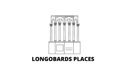 Italy, Longobards places line travel skyline set. Italy, Longobards places outline city vector panorama, illustration, travel sights, landmarks, streets. Illustration