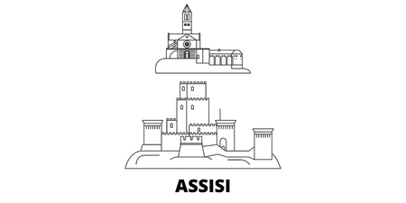 Italy, Assisi line travel skyline set. Italy, Assisi outline city vector panorama, illustration, travel sights, landmarks, streets. Archivio Fotografico - 120564989