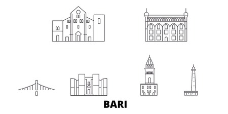Italy, Bari line travel skyline set. Italy, Bari outline city vector panorama, illustration, travel sights, landmarks, streets.