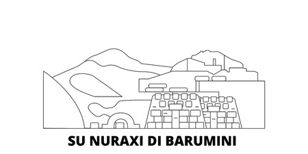 Italia, Barumini, Su Nuraxi Di Barumini la línea del horizonte de viaje. Italia, Barumini, Su Nuraxi Di Barumini esquema panorama vectorial de la ciudad, ilustración, lugares turísticos, monumentos, calles. Ilustración de vector