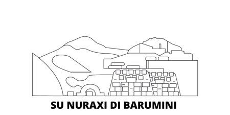L'Italia, Barumini, Su Nuraxi Di Barumini linea skyline di viaggio impostato. L'Italia, Barumini, Su Nuraxi Di Barumini outline vettore città panorama, illustrazione, siti di viaggi, punti di riferimento, strade. Vettoriali