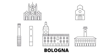 Italy, Bologna line travel skyline set. Italy, Bologna outline city vector panorama, illustration, travel sights, landmarks, streets.