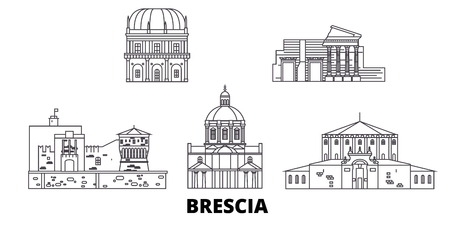 Italy, Brescia line travel skyline set. Italy, Brescia outline city vector panorama, illustration, travel sights, landmarks, streets.