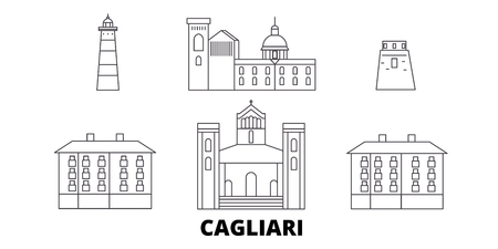 Italy, Cagliari line travel skyline set. Italy, Cagliari outline city vector panorama, illustration, travel sights, landmarks, streets. Ilustração