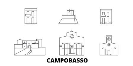 Italia, Campobasso línea horizonte de viaje. Italia, Campobasso esquema panorama vectorial de la ciudad, ilustración, lugares turísticos, monumentos, calles.