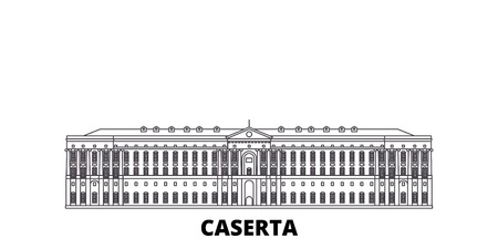 Italy, Caserta line travel skyline set. Italy, Caserta outline city vector panorama, illustration, travel sights, landmarks, streets. Illustration
