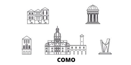 Italy, Como line travel skyline set. Italy, Como outline city vector panorama, illustration, travel sights, landmarks, streets. Иллюстрация