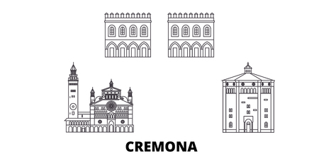Italy, Cremona line travel skyline set. Italy, Cremona outline city vector panorama, illustration, travel sights, landmarks, streets. Ilustração