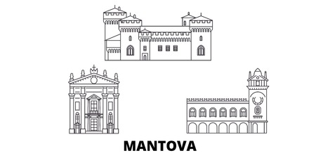 Italy, Mantova line travel skyline set. Italy, Mantova outline city vector panorama, illustration, travel sights, landmarks, streets.