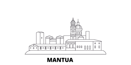 Italy, Mantua line travel skyline set. Italy, Mantua outline city vector panorama, illustration, travel sights, landmarks, streets.