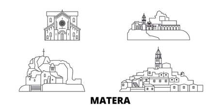 Italy, Matera line travel skyline set. Italy, Matera outline city vector panorama, illustration, travel sights, landmarks, streets. Ilustração