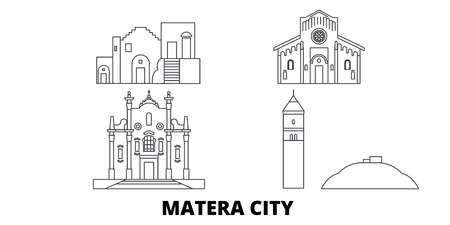 Italy, Matera City line travel skyline set. Italy, Matera City outline city vector panorama, illustration, travel sights, landmarks, streets.