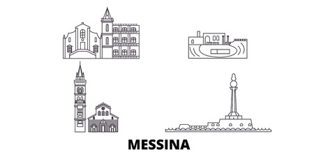 Italy, Messina line travel skyline set. Italy, Messina outline city vector panorama, illustration, travel sights, landmarks, streets.