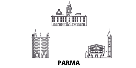 Italy, Parma line travel skyline set. Italy, Parma outline city vector panorama, illustration, travel sights, landmarks, streets.