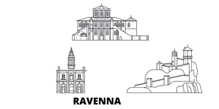 Italy, Ravenna line travel skyline set. Italy, Ravenna outline city vector panorama, illustration, travel sights, landmarks, streets.