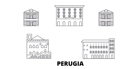 Italy, Perugia line travel skyline set. Italy, Perugia outline city vector panorama, illustration, travel sights, landmarks, streets.