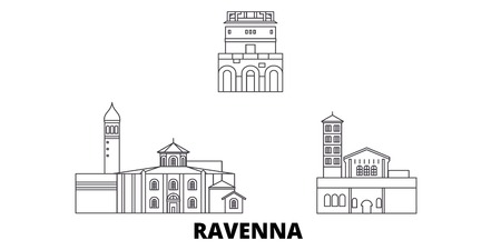 Italy, Ravenna City line travel skyline set. Italy, Ravenna City outline city vector panorama, illustration, travel sights, landmarks, streets. Illusztráció