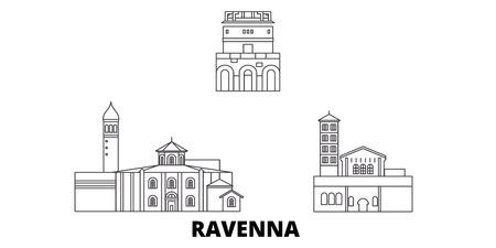 Italy, Ravenna City line travel skyline set. Italy, Ravenna City outline city vector panorama, illustration, travel sights, landmarks, streets. Illustration