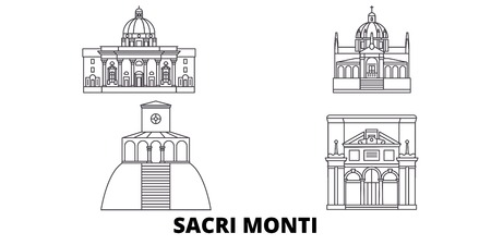 Italy, Piedmont And Lombardy, Sacri Monti line travel skyline set. Italy, Piedmont And Lombardy, Sacri Monti outline city vector panorama, illustration, travel sights, landmarks, streets.