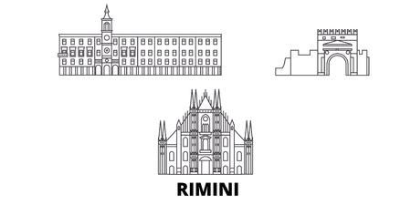 Italy, Rimini line travel skyline set. Italy, Rimini outline city vector panorama, illustration, travel sights, landmarks, streets. Stock Vector - 120565660