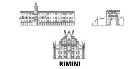 Italy, Rimini line travel skyline set. Italy, Rimini outline city vector panorama, illustration, travel sights, landmarks, streets.
