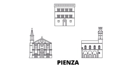 Italy, Pienza  line travel skyline set. Italy, Pienza  outline city vector panorama, illustration, travel sights, landmarks, streets.
