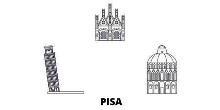 Italy, Pisa line travel skyline set. Italy, Pisa outline city vector panorama, illustration, travel sights, landmarks, streets.