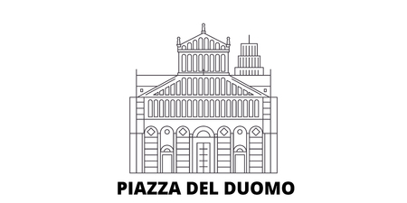 Italy, Pisa, Piazza Del Duomo line travel skyline set. Italy, Pisa, Piazza Del Duomo outline city vector panorama, illustration, travel sights, landmarks, streets.