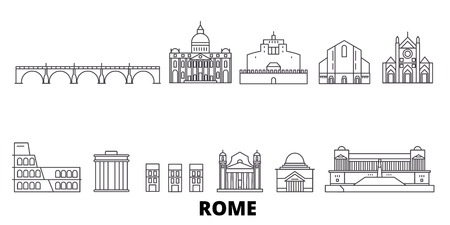 Italy, Rome line travel skyline set. Italy, Rome outline city vector panorama, illustration, travel sights, landmarks, streets. Illustration