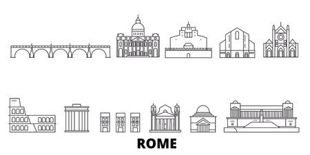 Włochy, Rzym linia panoramę podróży zestaw. Włochy, Rzym zarys panorama miasta wektor, ilustracja, zabytki podróży, zabytki, ulice. Ilustracje wektorowe