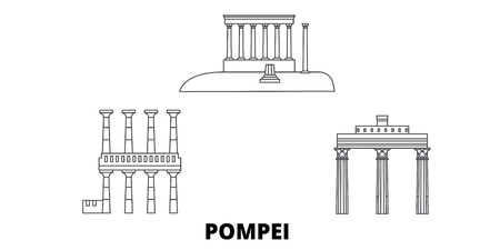 Italy, Pompei line travel skyline set. Italy, Pompei outline city vector panorama, illustration, travel sights, landmarks, streets.