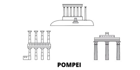Italy, Pompei line travel skyline set. Italy, Pompei outline city vector panorama, illustration, travel sights, landmarks, streets.