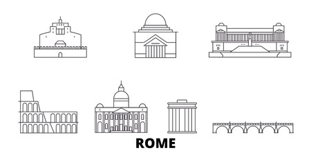 Italy, Rome City line travel skyline set. Italy, Rome City outline city vector panorama, illustration, travel sights, landmarks, streets.