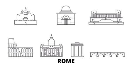 Italy, Rome City line travel skyline set. Italy, Rome City outline city vector panorama, illustration, travel sights, landmarks, streets.