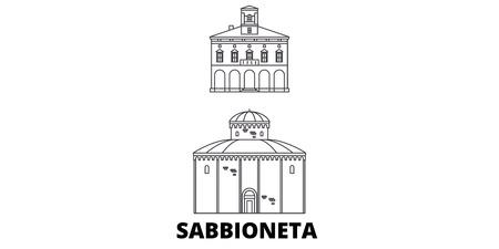 Italy, Sabbioneta line travel skyline set. Italy, Sabbioneta outline city vector panorama, illustration, travel sights, landmarks, streets. Иллюстрация