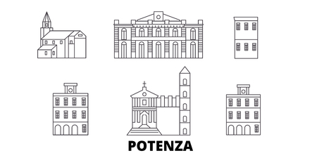 Italy, Potenza line travel skyline set. Italy, Potenza outline city vector panorama, illustration, travel sights, landmarks, streets. Imagens - 123962766