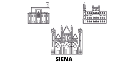Italy, Siena line travel skyline set. Italy, Siena outline city vector panorama, illustration, travel sights, landmarks, streets.
